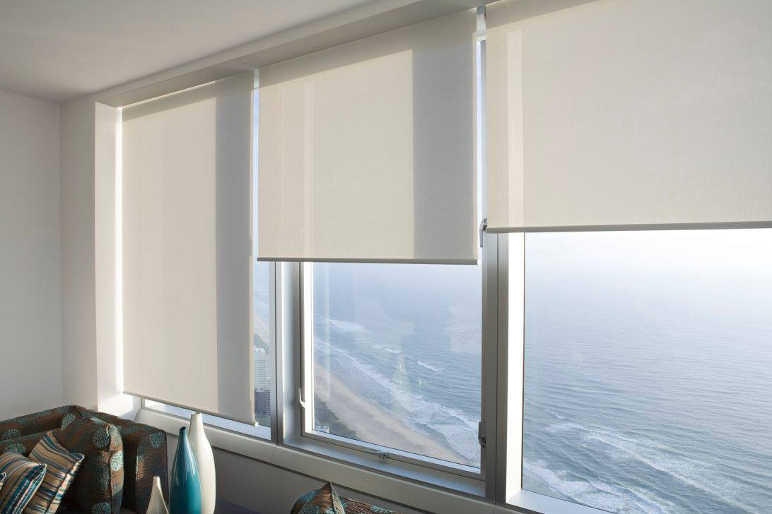 Roller Blinds - White - Overlooking the Sea