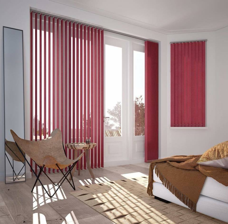 Vertical Blinds - Red - Main Room